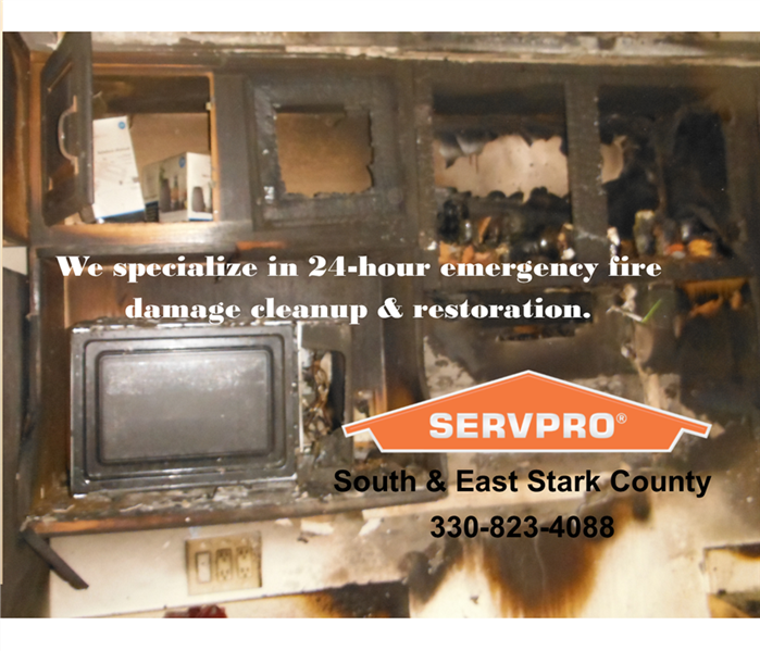 Cabinets microwave smoke soot residue